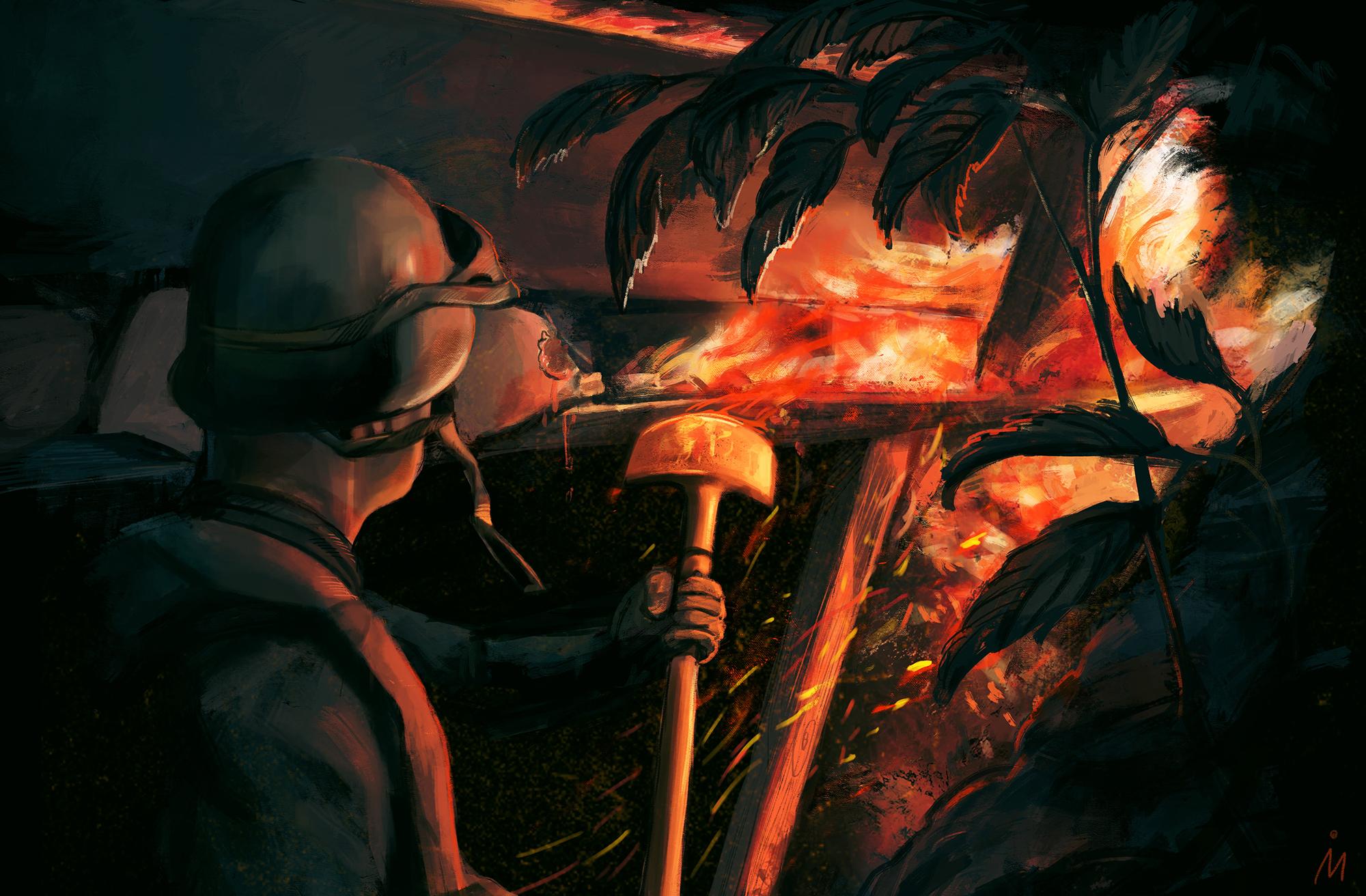 """Ще дві ілюстрації Ірени Миколів до """"Щоденника нелегального солдата"""""""